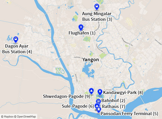 Karte Myanmar.Yangon Auf Der Karte Stadtplan Mit Wichtigen Orten